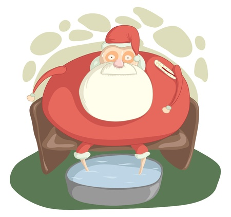 Santa Claus with a high temperature is sitting in a chair and floating legs Illustration