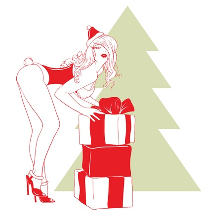 Sexy girl holding Santa bent gifts. Vector