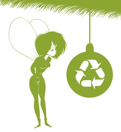 Green Fairy is looking at Christmas toy with the sign of eco. Vector