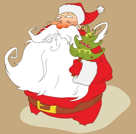 Happy Santa Claus with Christmas tree   Vector