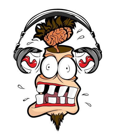 loco: Auriculares hombre gritar fuerte en mi cabeza.