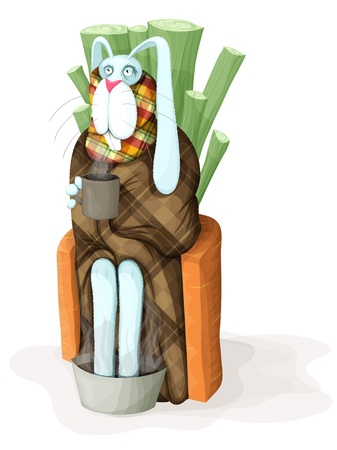Sick rabbit sitting on a chair with a cup in his hand. Rabbit feet warm. Wrapped in a blanket. Stock Vector - 12201799