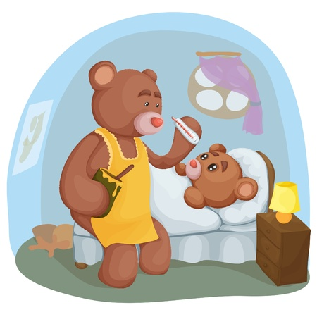 Sick teddy bear lying in bed, and sitting next to mom with a thermometer. Vector illustration. Illustration