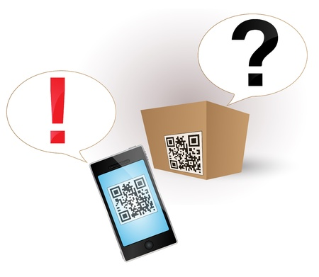 qrcode: Cardboard box with a QR-code. Smartphone deciphered the QR-code. Illustration