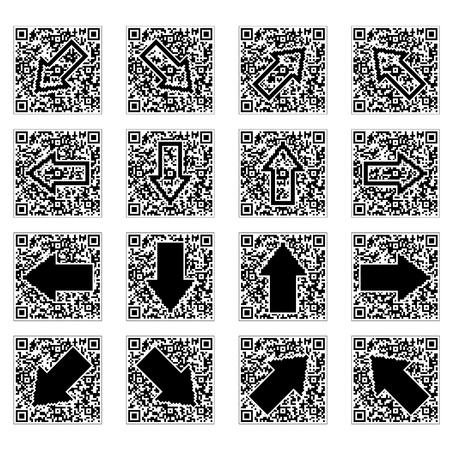 QR code with an arrow inside. Vector illustration. Stock Vector - 12201800