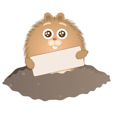ground: Little groundhog peeps out of his hole with a sign in his hands. Vector illustration.