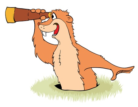 marmot: Groundhog Day. Groundhog peeps out from its hole with a telescope in its claws. Vector illustration.