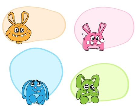 Four funny animal like rabbits. Stock Vector - 12201777