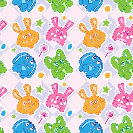 Seamless wallpaper with a beautiful young rabbits. Vector