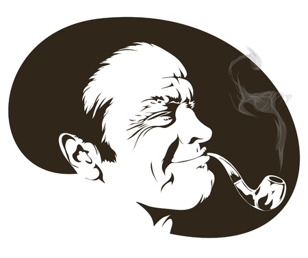 cigar smoking man: Isolated on white background with a cigarette smoker. Bicolor vector illustration.