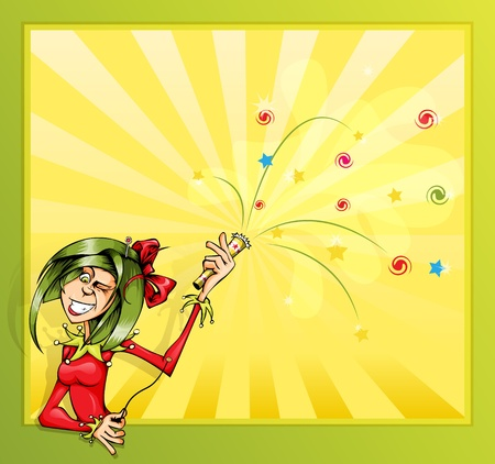 Invitation card with the clown girl and firecrackers  Illustration