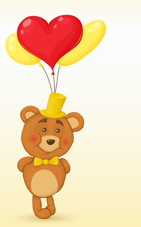 Bear keeps behind the balloons in the shape of the heart. Vector