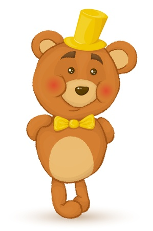 stuffed animals: Bear holds his hands behind his back. Bear with hat and bow tie. Illustration