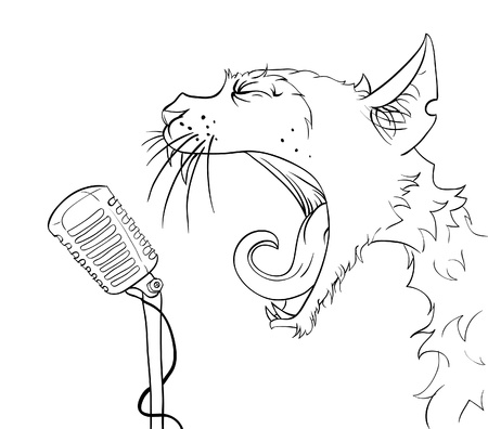 bawl: Cat yells into the microphone. Vector illustration.
