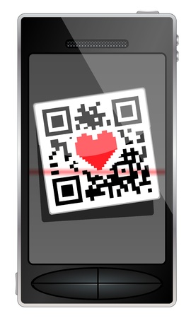 QR code flies in the smartphone. Phone with hearts. Vector