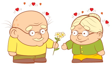 grandparents: Grandpa gives flowers to my grandmother. Sweetheart vector illustration. EPS-8 Illustration