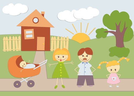 Baby Applique family background at home. Illustration