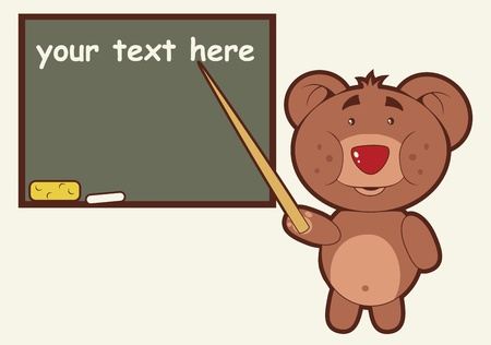 A teacher bear standing next to a chalkboard teaching a lesson. Vector