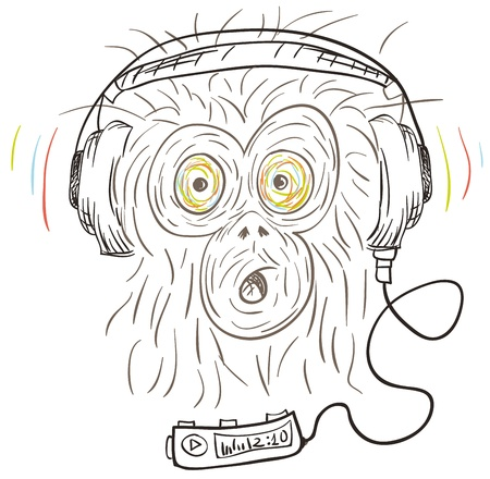 The monkey is listening to music on headphones with the player. Vector