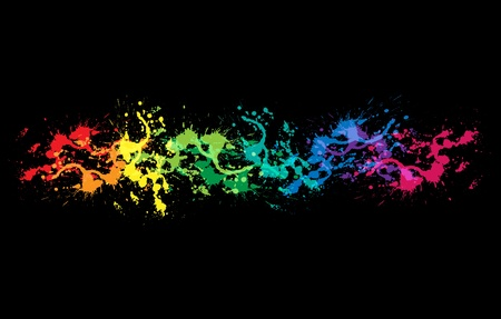 dripping paint: Colourful bright ink splat design with a black background
