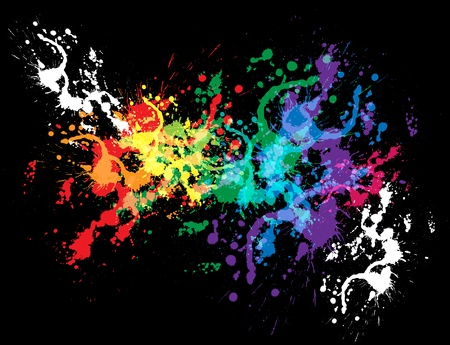 spatter: Colourful bright ink splat design with a black background