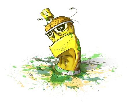 graffiti brown: Botella de spray de pintura en una ilustraci�n de fondo sucio