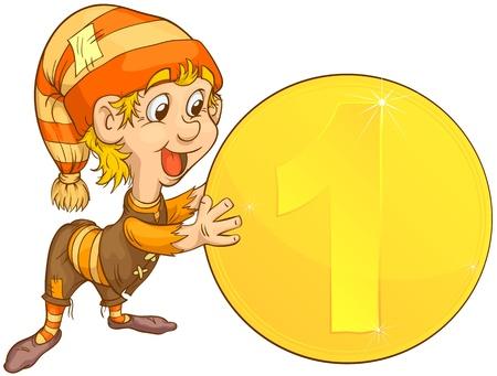enano: Peque�a gnome la celebraci�n de una moneda de oro. Cari�o ilustraci�n.