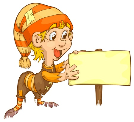 gnome shows a sign banner. Sweetheart illustration. Vector