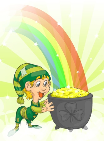 Joyful young leprechaun with a bowl of gold and rainbow. Vector