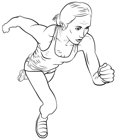 single woman: Running girl. The isolated graphic.