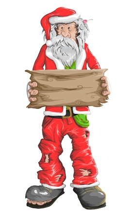 Homeless Santa Claus with an empty plate in his hand. Vector illustration. Illustration
