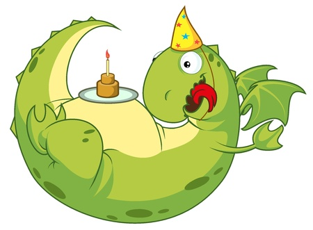 Green Dragon happy with a cake on his stomach. Sweetheart vector illustration. Vector