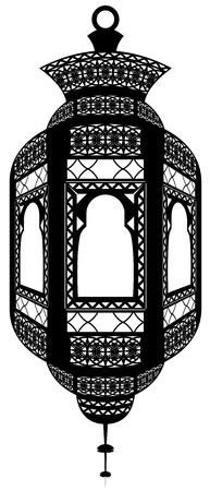 Illustratie van geïsoleerde Fanoos (lantaarn) gebruikt als religieuze ornamenten voor decoratie en viering in de heilige maand van de Ramadan.