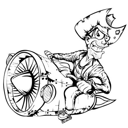 motociclista: Biker-vaquero en un cohete de la motocicleta turbo. Ilustración vectorial aislados en blanco y negro.