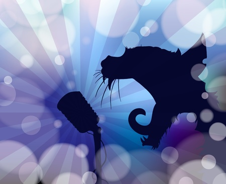 Silhouette of a cat singing into a microphone on abstract blurred background. Vector
