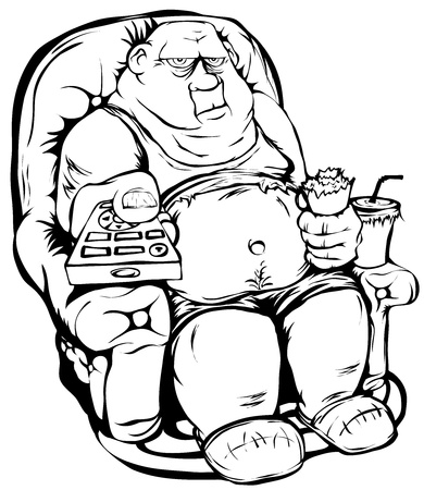The fat guy is sitting in a chair with remote control in hand. Contour isolated picture.