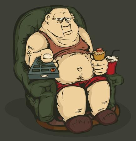 tv remote: Толстяк сидит в кресле с пультом в руке. Цвет изображения.