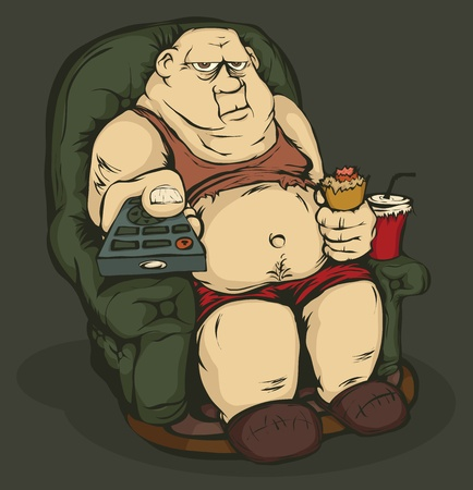 The fat guy is sitting in a chair with remote control in hand. Color the picture. Vector