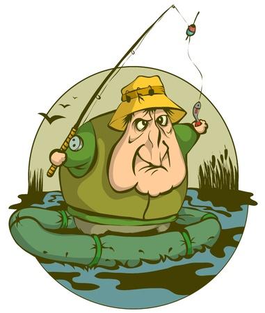 hombre pescando: Un pescador en el barco pescó un pez pequeño en el río. Vectores