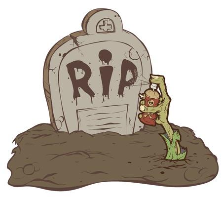 Hand zombie kruipt uit het graf en schreef RIP