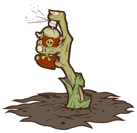 Zombie hand sticking out of the ground and drawing graffiti. Isolated on white background illustration.
