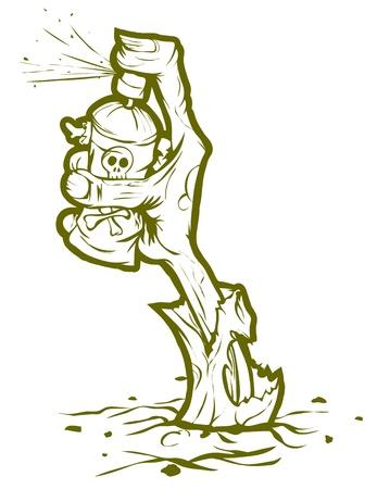 Zombie mano saliendo de la tierra y el graffiti dibujo. Aislado en la ilustración de fondo blanco.