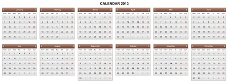 executed: Calendar 2013. Executed in brown.