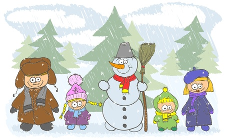 Happy family on winter holidays are a beautiful snowman Vector