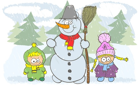 Happy children on winter holidays are a beautiful snowman Vector