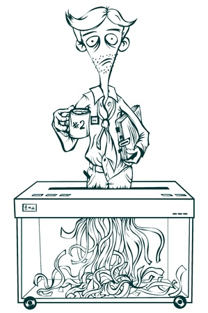 desilusion: Oficinista Deprimido pie en la trituradora y triturar en sí. Aislado ilustración en blanco y negro.