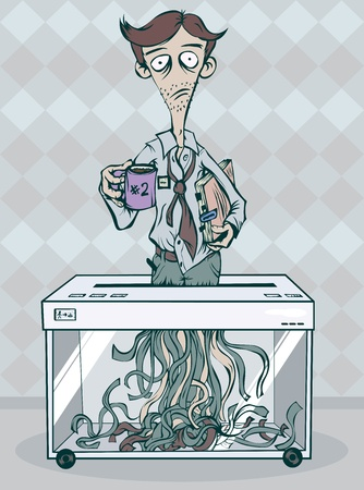 shred: Depressed office worker standing in the shredder and shred itself. Illustration
