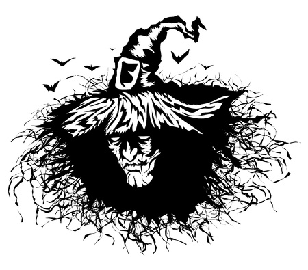 witch silhouette: Stencil heads the evil witch. Illustration on Halloween.