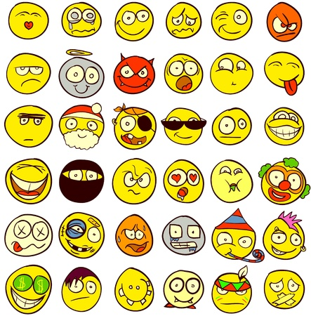 cara sonriente: Un conjunto de 36 emoticonos para todos los gustos Vectores