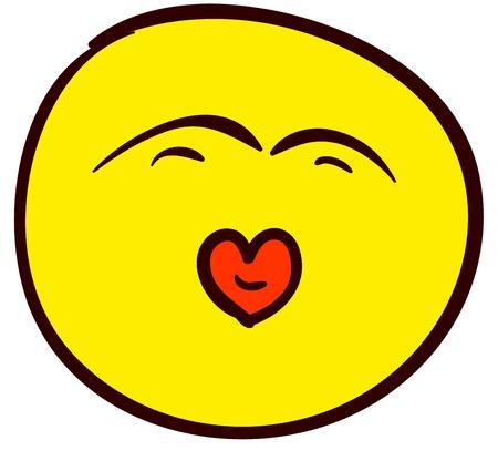 smooch: Emocional divertido sonriente. Hecho en el estilo c�mico garabato. Vectores